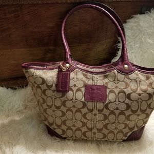 Coach Purse tan and maroon leather